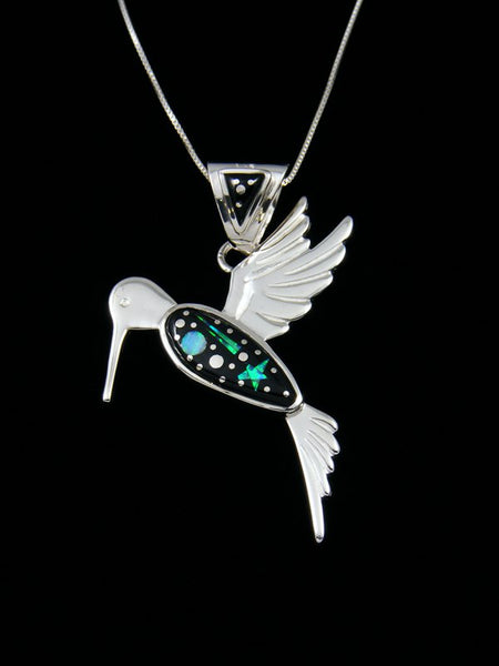 Native American Night Sky Hummingbird Inlay Pendant