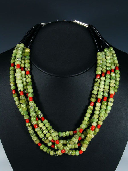Santo Domingo Five Strand Serpentine and Coral Necklace