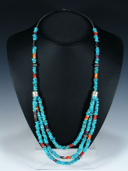 Native American Indian Turquoise and Spiny Oyster Bead Necklace