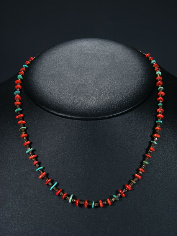"""Navajo Native American Sterling Silver Heishi Turquoise Coral Necklace 21"""" 4757"""