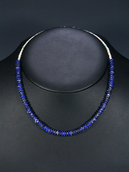 Native American Indian Jewelry Lapis Heishi Necklace