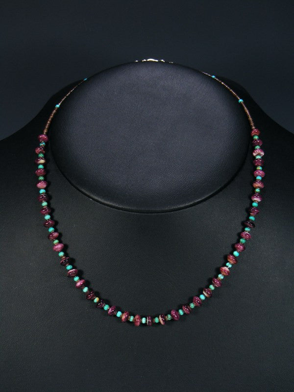 Native American Indian Jewelry Purple Spiny Oyster and Turquoise Necklace