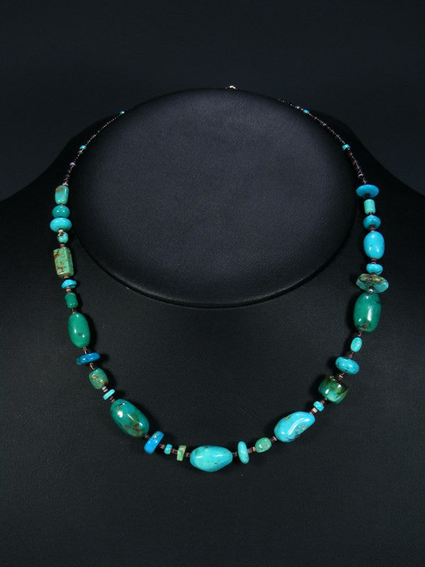 Native American Indian Jewelry Turquoise Nugget and Heishi Necklace