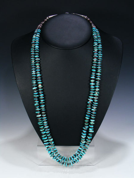 Old Native American Jewelry Double Strand Turquoise Necklace