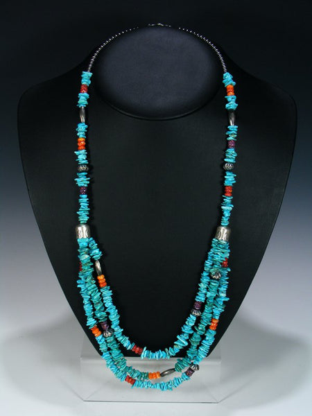 Native American Indian Multi Strand Beaded Necklace
