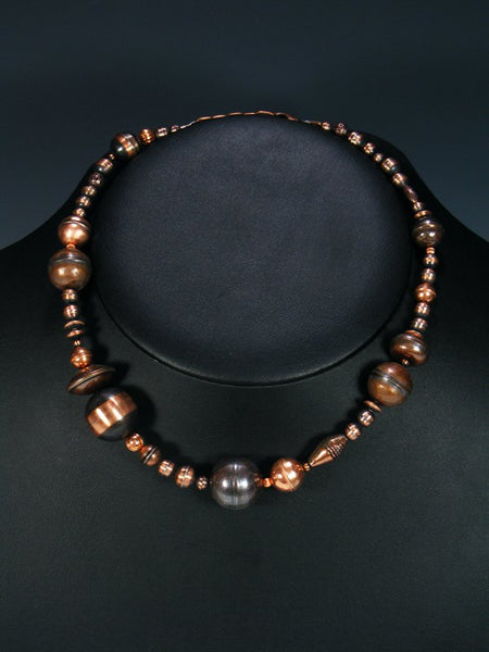Native American Copper Bead Choker Necklace
