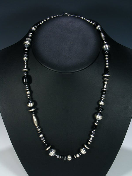 Native American Sterling Silver Bead and Onyx Necklace
