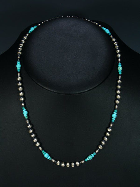 Native American Turquoise and Sterling Silver Bead Necklace
