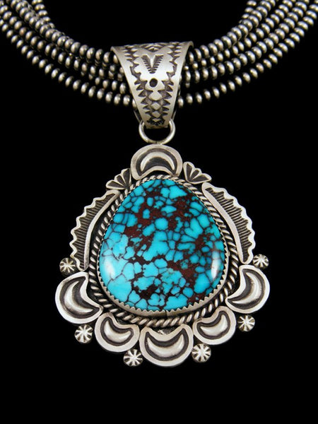 Native Sterling Silver Persian Turquoise Pendant and Necklace