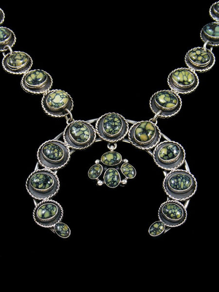 Native American Sterling Silver New Lander Squash Blossom Necklace