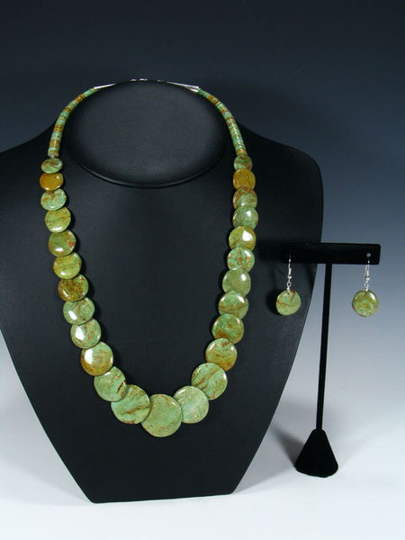 Native American Green Turquoise Disc Necklace Set