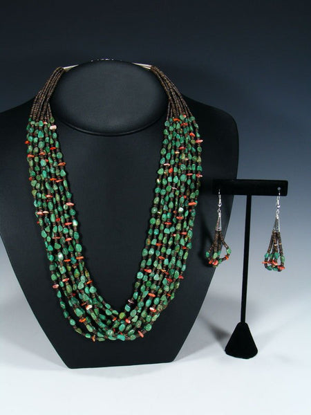 Native American Santo Domingo Turquoise and Spiny Oyster Necklace and Earring Set