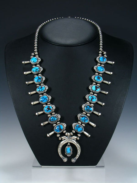 Native American Egyptian Turquoise Squash Blossom Necklace Set
