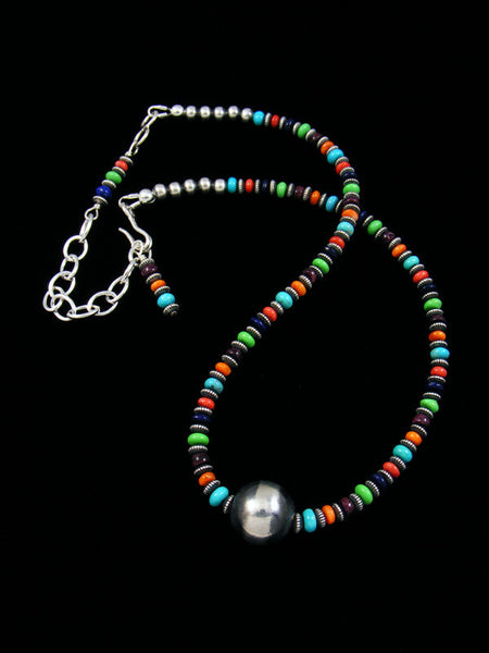 Navajo Spiny Oyster Turquoise Choker and Silver Bead Necklace