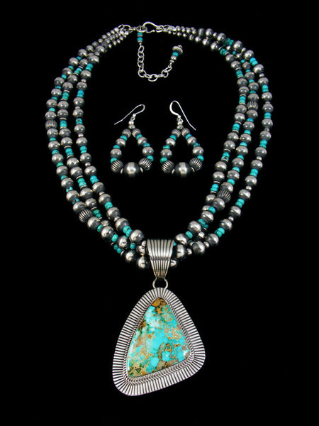 Native American Royston Turquoise Necklace Earring Set