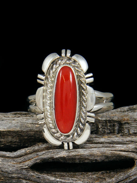 Red Coral Sterling Silver Ring, Size 8