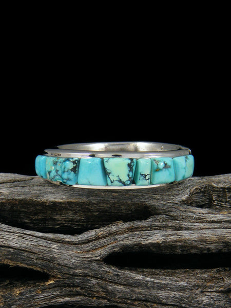Cloud Mountain Turquoise Cornrow Inlay Ring, Size 6
