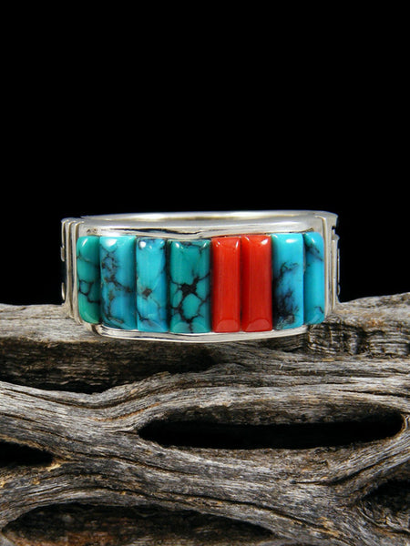 Coral and Turquoise Cornrow Inlay Ring, Size 11