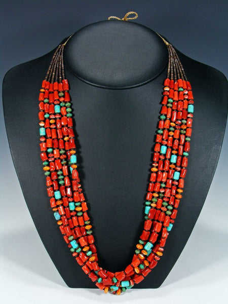 Native American Santo Domingo Coral, Spiny Oyster, and Turquoise Necklace