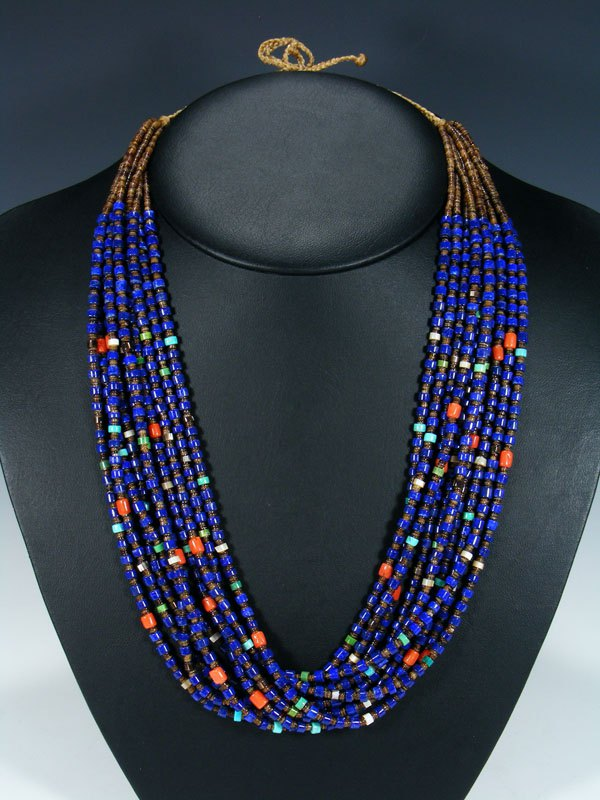 Native American Santo Domingo Lapis, Coral, and Turquoise Necklace