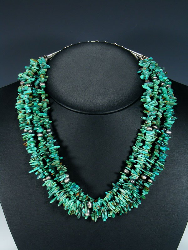 Native American Indian Jewelry Turquoise and Silver Bead Necklace