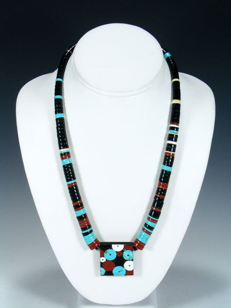 Native American Indian Santo Domingo Black Jet and Pipestone Necklace