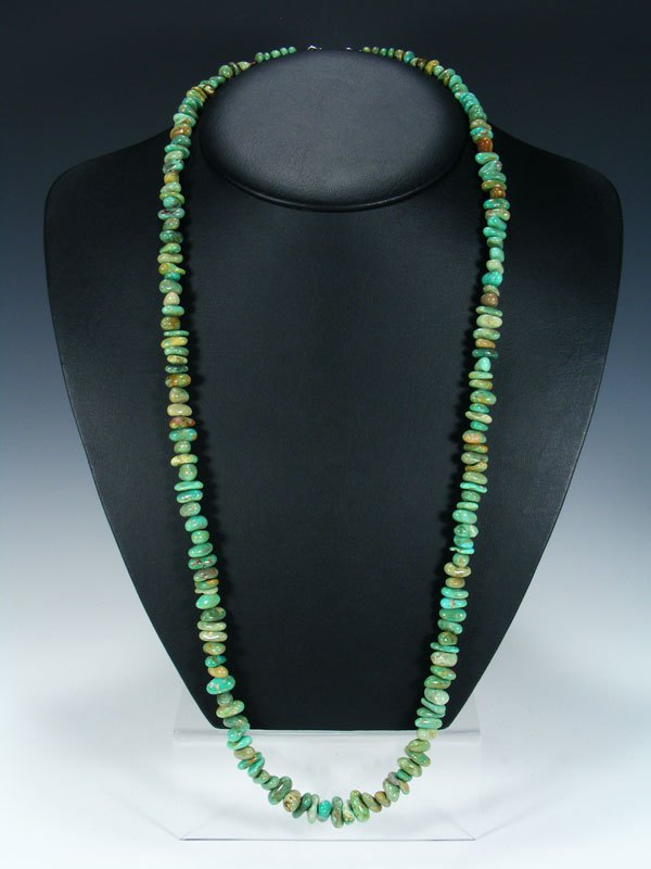 "32"" Native American Indian Jewelry Single Strand Turquoise Necklace"
