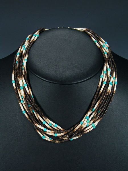 Native American Santo Domingo Heishi and Turquoise Choker Necklace