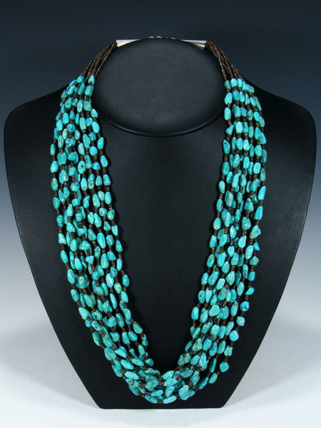 Native American Santo Domingo Turquoise and Heishi Necklace