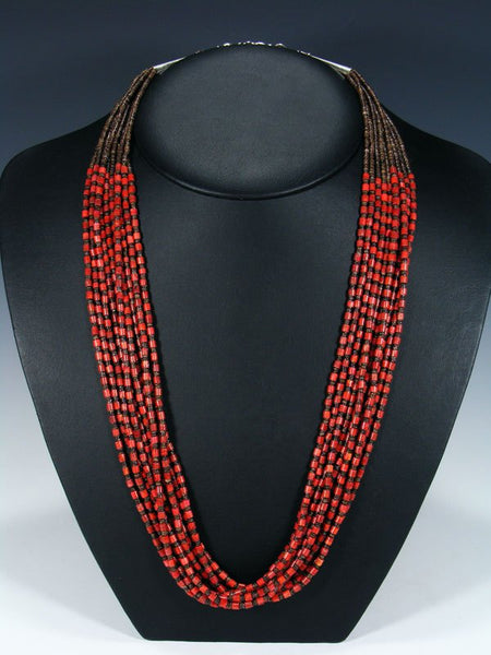 Native American Santo Domingo Ten Strand Coral and Heishi Necklace