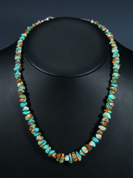 Native American Indian Jewelry Single Strand Fox Turquoise Necklace