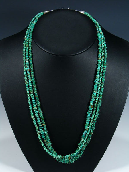 Native American Triple Strand Carico Lake Turquoise Necklace