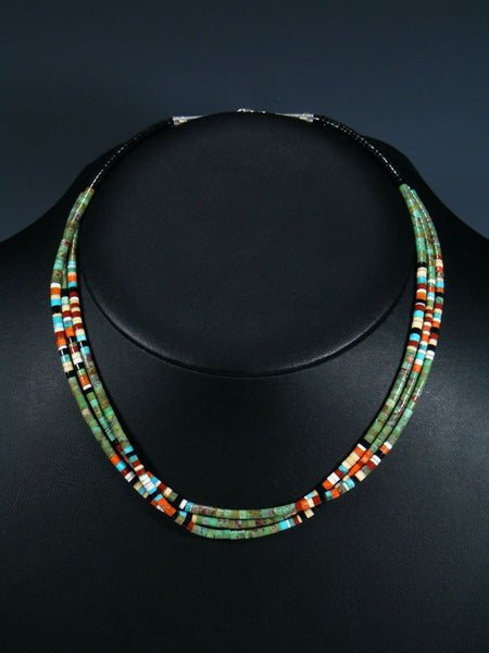 Native American Indian Bead Santo Domingo Turquoise Necklace