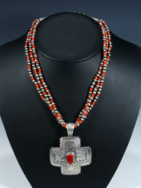 Native American Indian Jewelry Mediterranean Coral Cross Necklace Set