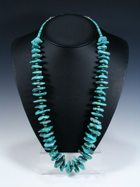 Native American Indian Jewelry Chunky White Water Turquoise Necklace