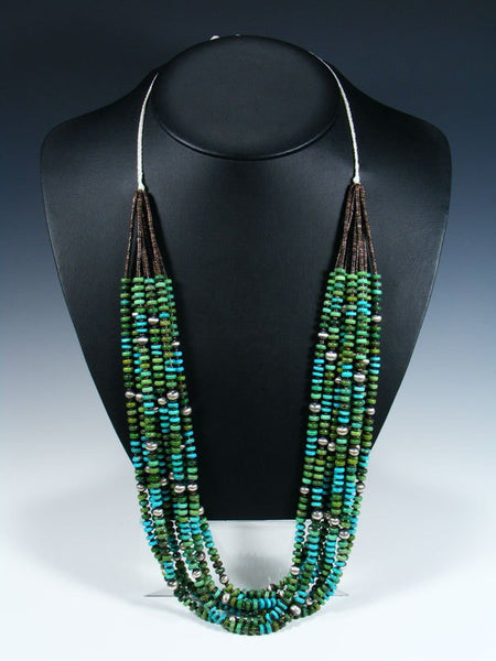 Native American Santo Domingo Blue and Green Turquoise Necklace