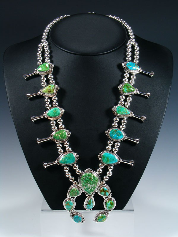 Native American Pilot Mountain Turquoise Squash Blossom Necklace Set