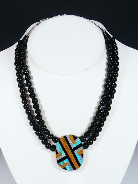Native American Indian Santo Domingo Black Jet Mosaic Choker
