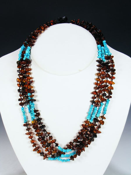 Native American Indian Jewelry Four Strand Amber Necklace