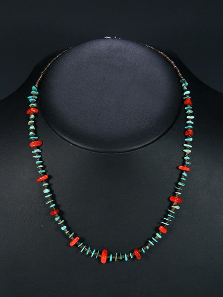 Native American Coral and Turquoise Heishi Choker Necklace