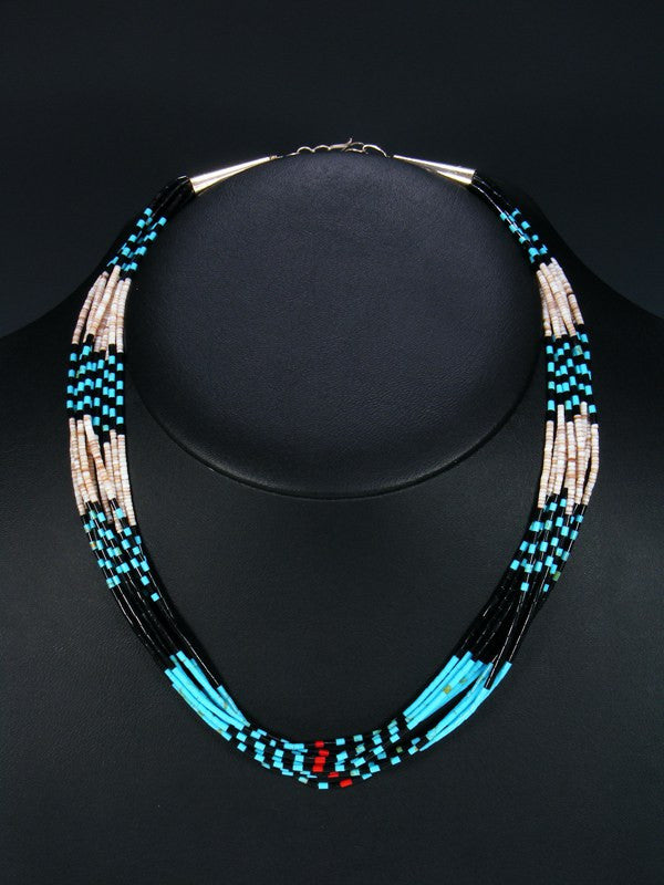 Native American Santo Domingo 10 Strand Necklace