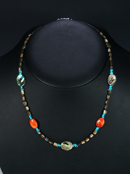 Native American Turquoise Apple Coral and Abalone Necklace