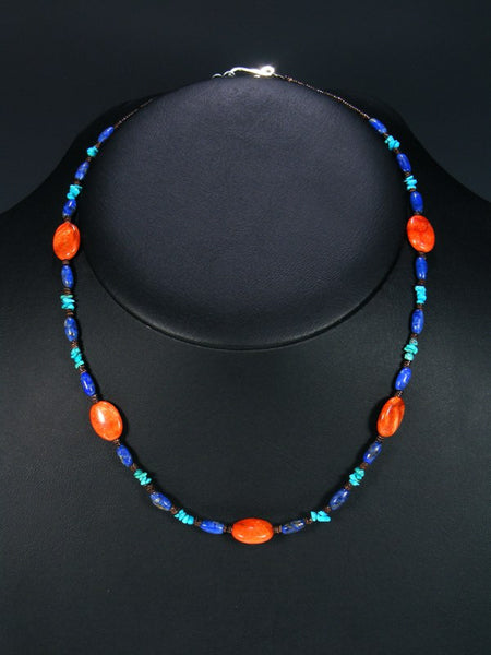 Native American Turquoise Apple Coral and Lapis Necklace