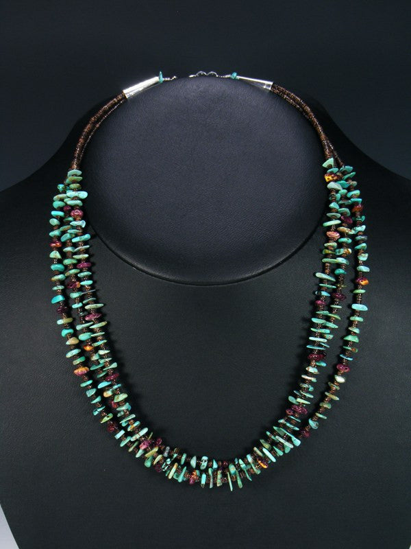 Triple Strand Turquoise Spiny Oyster and Shell Heishi Necklace