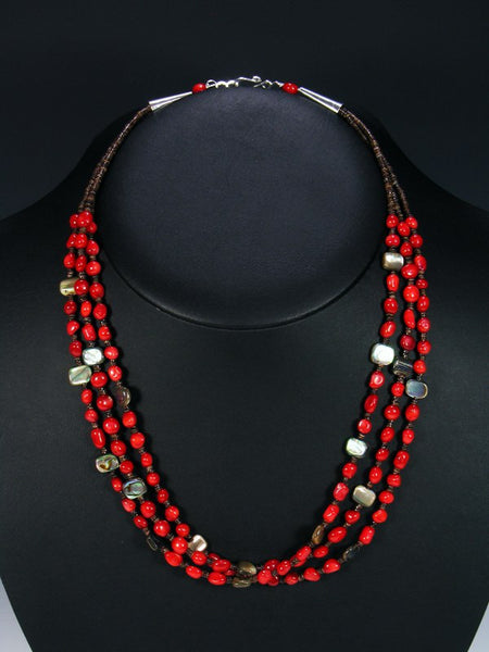 Native American Coral and Abalone Necklace