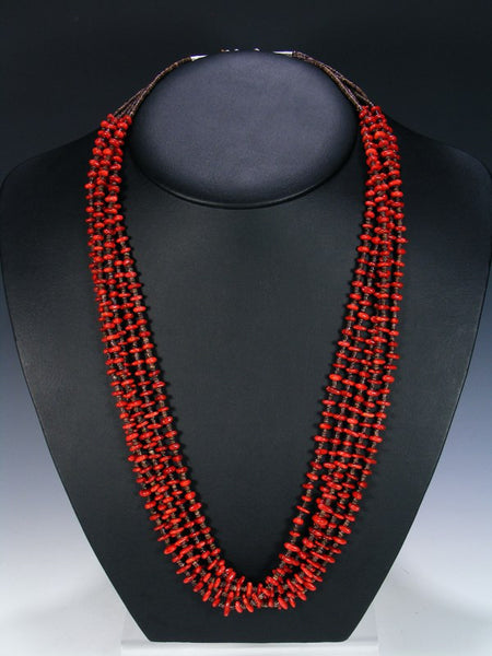 Native American Coral Heishi Multi Strand Necklace