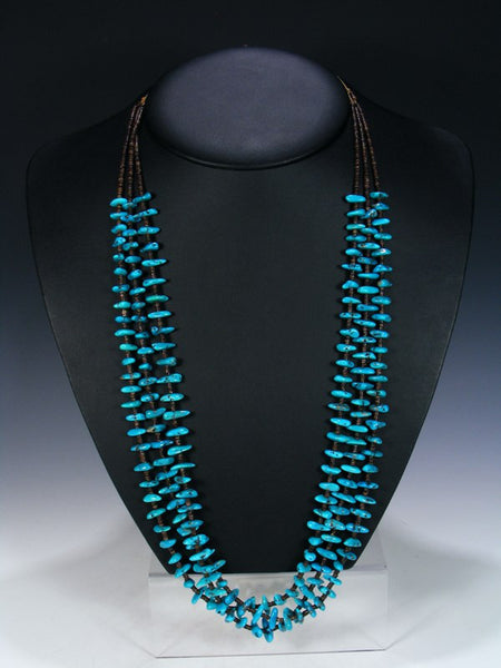 Native American Indian Turquoise Triple Strand Necklace