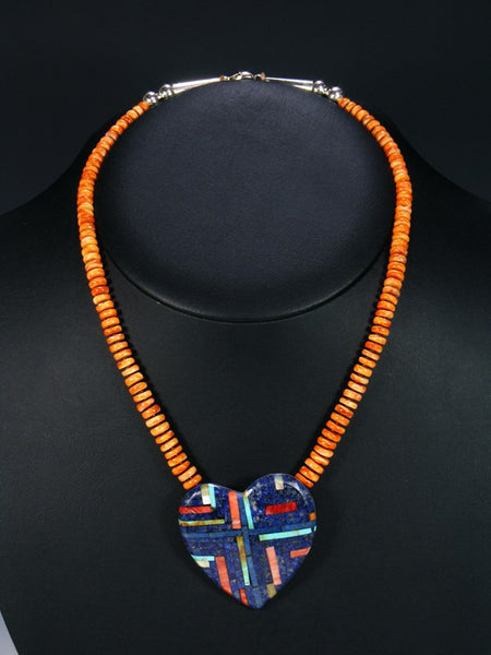 Native American Indian Jewelry Spiny Oyster and Lapis Heart Necklace