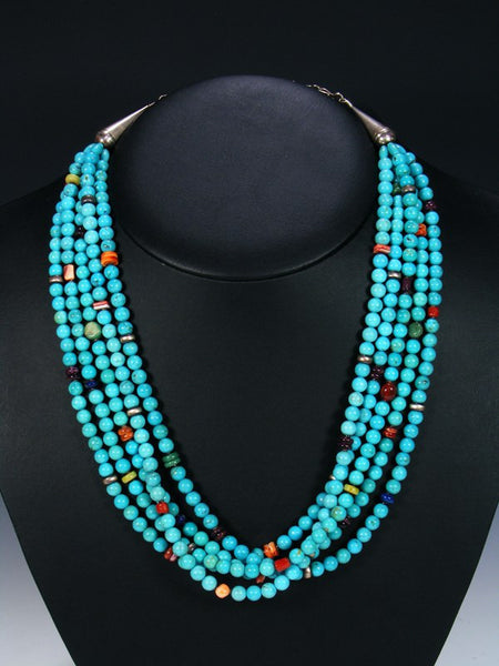 Native American Indian Spiny Oyster and Turquoise Five Strand Necklace