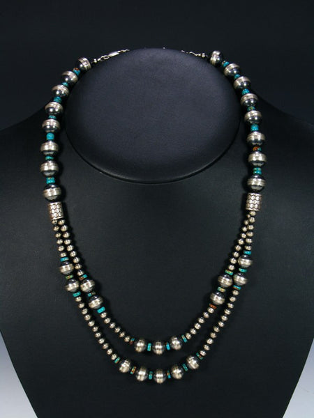 Double Strand Native American Turquoise and Silver Bead Necklace